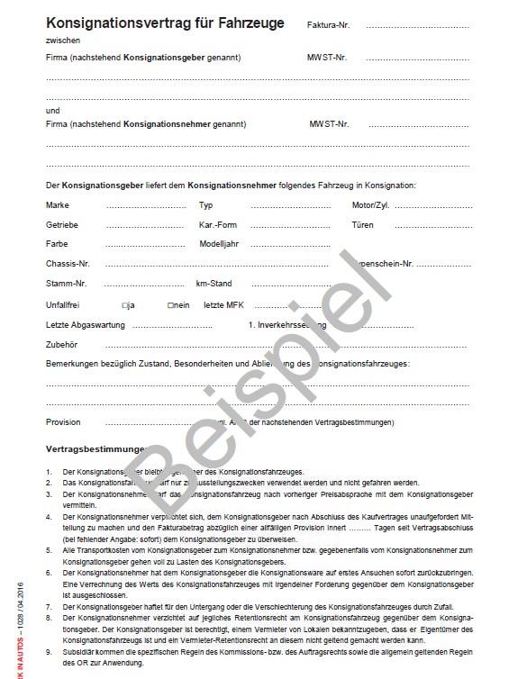 Konsignationsvertrag Automobile Agvs Upsa Sektion Zentralschweiz